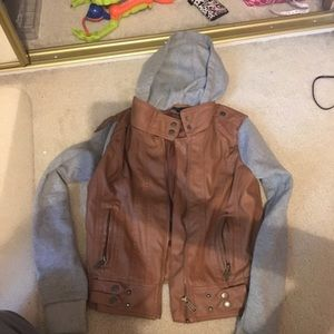 Rue 21 Leather Hooded Jacket